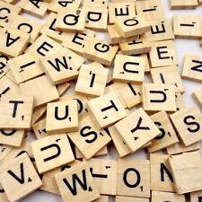 30pc Wooden Alphabet Tiles Wood Scrabble Replacement Art Card Paper Craft Letter