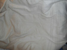 VINTAGE WOOL PORRIDGE CREAMY BLANKET BOUND FADED PALE STRIPES SINGLE BED THICK
