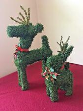 2 VINTAGE PINE GREEN GARLAND REINDEER W/ BELL CHRISTMAS FIGURE TOPIARY