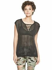 GUESS Top Women's Strappy Open Stitch Sweater Knit Sleeveless Top S Black NWT