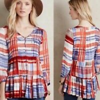 Anthropologie Maeve Red White Blue Plaid Cavalon Peplum Top Pockets Size Small