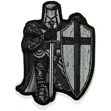 Embroidered Black & White Crusader Knight Iron on Sew on Biker Patch Badge