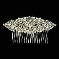 Luxury Crystal Bridal Hair Comb Rhinestone Tiara Pearl Wedding Prom Headpiece