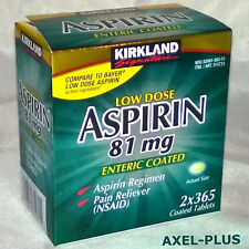 Kirkland 2 x 365 Tablets  Low Dose Aspirin 81mg Enteric Coated Pain Reliever