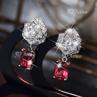 18K WHITE GOLD GF STUD MADE WITH SWAROVSKI CRYSTAL ROSE RED FLOWER EARRINGS