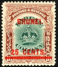 Brunei 1906 green/brown 25c on 16c mint SG19