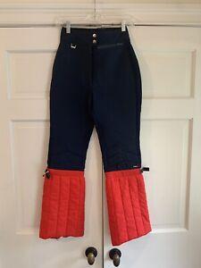 Vintage Retro FERA Ski Pants Stretch Wool Navy & Red Bell Bottoms Women's Sz 8L