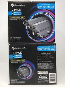 Member's Mark Brother TN450 Black Inkjet Toner Cartridges 4 Pack FACTORY SEALED!