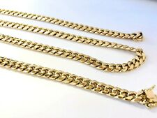 """Mens 10k Yellow Gold Miami Cuban Link Chain Necklace 25.5"""", 6.8 MM 27.2 Grams"""