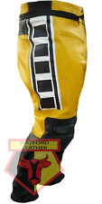 Cow Leather Pant Yamaha 6728 Yellow Motorbike Motorcycle Biker Racer Trouser