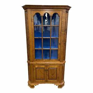 D.R. Dimes Custom Tiger Maple Corner Cabinet With Antiqued Glass Panes