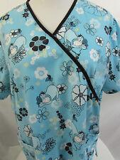 DISNEY EEYORE Top Shirt Size L Nurse Vet Surgical Medical Blue Flowers Faux Wrap