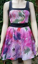 ASOS Pink Black Green Multi Colour Cut Out Back Short Tea Party Dress Size 8