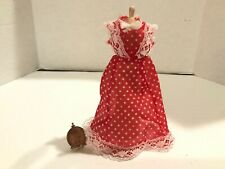 Vintage Red Dotted FORMAL DRESS FORM Dollhouse Miniature 1:12 1 Inch Scale