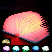 Wooden Foldable LED Book Lamp USB Rechargeable Multi-Color Light Decoration