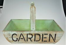 "Lg Garden Jardin Wooden Basket Green Rustic  20"" x 12"" Primitive French Country"