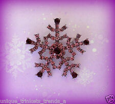 PURPLE CRYSTAL RHINESTONE SNOWFLAKE SILVER CHRISTMAS PIN BROOCH GIFT FOR WOMEN