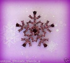 PURPLE CRYSTAL RHINESTONE SNOWFLAKE SILVER CHRISTMAS GIFT PIN BROOCH