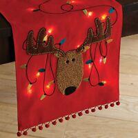 "Pier 1 Imports Christmas LED Light-Up Playful Reindeer 72"" Table Runner"