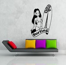 Wall Stickers Vinyl Decal Hawaii Girl With Surfboard Surfing Ocean (z1901)