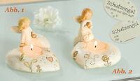 Gilde Engel auf Herz (Abb. 2) Schutzengel Teelichthalter Teelich Kerze - 20294B