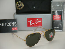 RAY BAN AVIATOR 3025 GOLD FRAME NATURAL GREEN POLARIZED RB 3025 001/58 55mm SM