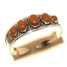 Silver Plated Sunstone Cuff Bangel Handmade Gemstone Jewelry