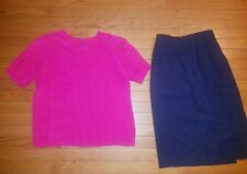 Vintage lot clothes 1980s Womens Size 6 navy suit skirt & fushia small silk top