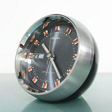 Vintage RHYTHM Space Age CLOCK Mantel Alarm 51114 DATE FEATURES TOP Mid Century
