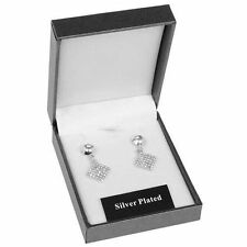 Diamond Silver Plated Butterfly Costume Earrings