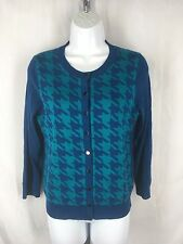 Banana Republic Cardigan Sweater Medium Blue Houndstooth Silk Polyester Cotton