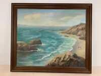 Vintage Possibly Antique Coastal Seascape Oil Painting on Canvas Signed Lillian