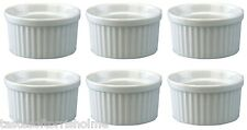 Apollo Set of 6 Mini 6.5cm Wide Small Round White Oven Proof Ramekins Dishes