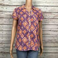 Sonoma Button Front Casual Blouse Shirt Top MEDIUM Purple Orange Ikat Print