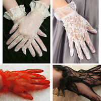 Victorian Vintage Womens Lace Wrist Length Gloves w/ Ruffle Black/Pink/White/Red