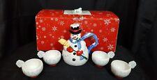Department 56 Christmas Tea Snowflake th Snowman, Teapot Cup Set