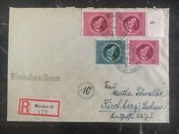 1944 Munich Germany Registered Cover To Kirchberg