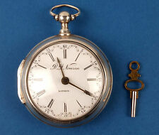 English Antique 18thC Silver Fusee Key Wind Pocket Watch D.D.Neveren London