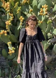 Zara M Size 10 Bloggers Black Broderie Cutwork Gypsy Boho Prairie  Dress