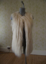 TOPSHOP cream faux fur long gilet waistcoat UK 10 grey jersey lining
