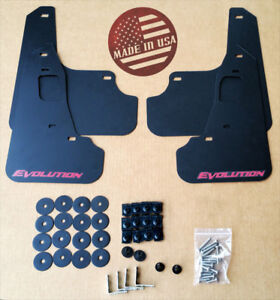 StreetRays 08-15 Mitsubishi EVO X Mud Flaps Set BLACK w/ Logo & Hardware Kit