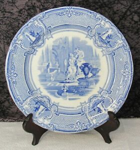 "Antique Staffordshire Minerva Blue Transferware Ironstone 7 3/4"" Salad Plate"