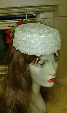 "New listing Vintage 60's Women's Pillbox Hat w Iridescent Sequins 21"" Cir. by Helen Richards"