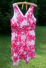 Robbie Bee Party sleeveless dress Pink FLoral Breezy 100% Cotton V-neck 18