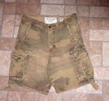 Mens size 32 Abercrombie & Fitch camo distressed cargo drawstring shorts (Flaws)