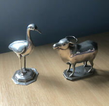 Foreign Silver Cow And Bird Set