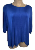 Chico's 3 Travelers Tunic Top Women's Size XL Blue High Low 3/4 Sleeve Stretch