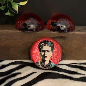 Frida Kahlo Glass Paperweight - Dark Pink