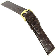 19mm Hirsch Crocolook Genuine Leather Brown Unstitched Flat Mens Watch Band