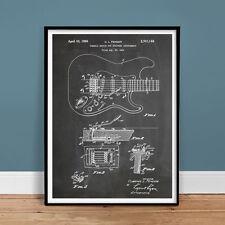 "FENDER STRATOCASTER GUITAR POSTER Blackboard 1956 US Patent Print 18x24"" Gift"